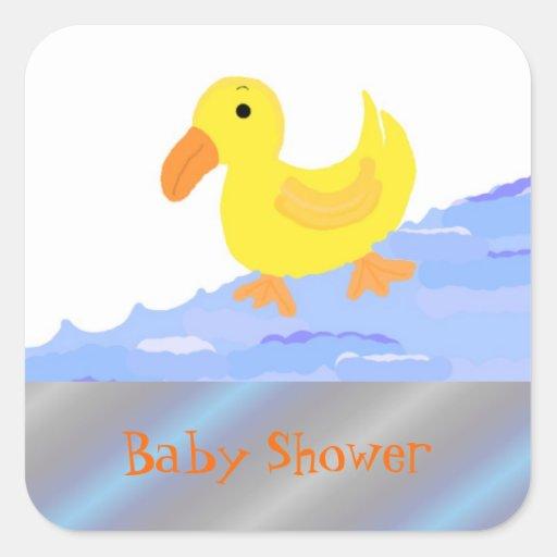 yellow duck baby shower square sticker zazzle