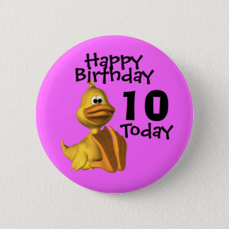 Yellow Duck Birthday 10 6 Cm Round Badge