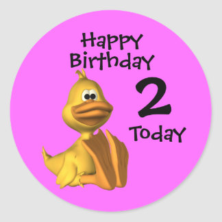 Yellow Duck Birthday 2 Round Sticker