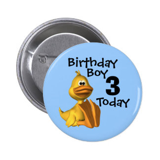 Yellow Duck Birthday Boy 3 Pinback Buttons