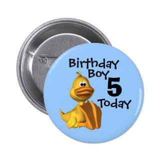 Yellow Duck Birthday Boy 5 Pinback Button