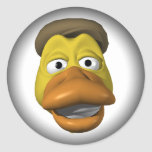 Yellow duck face smiley face round sticker