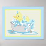 Yellow Duck in Tub Bathroom Art Print