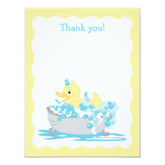 Yellow Duck in Tub Flat Thank you note Card