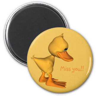Yellow duck miss you 6 cm round magnet