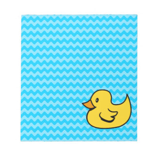 Yellow Duck on Aqua Waves Notepad