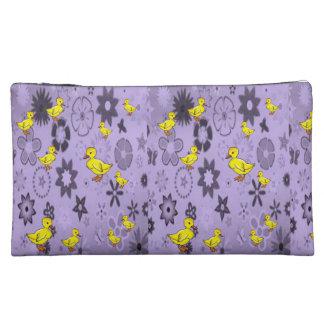 yellow duck purple girls cosmetic bag