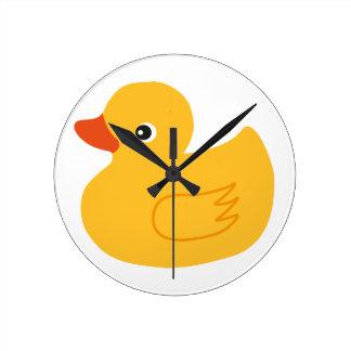 Yellow Duck Round Clock