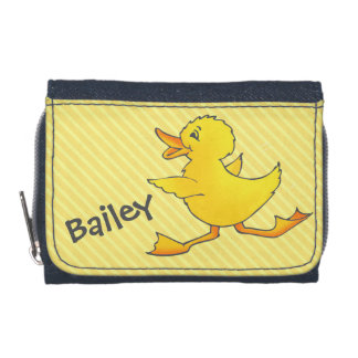Yellow duck running add your name purse wallets