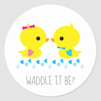 Yellow Duckie Waddle It Be Gender Reveal Classic Round Sticker