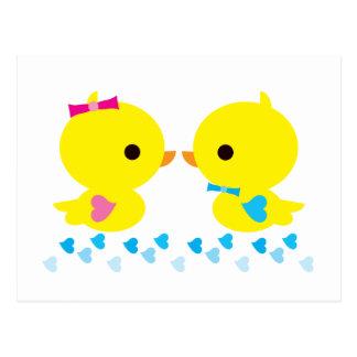 Yellow Duckies Kawaii Cartoon Postcard