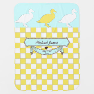 yellow ducks name and date of birth baby blanket 2