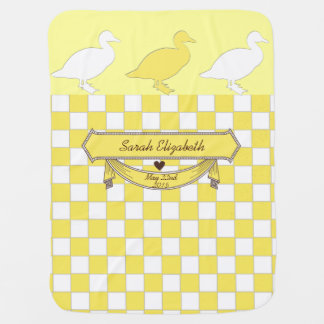 yellow ducks name and date of birth baby blanket