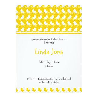 "yellow ducky row baby shower invitation 6.5"" x 8.75"" invitation card"