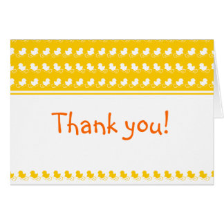 yellow ducky row baby shower thank you card