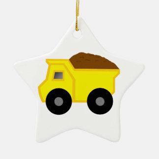 Yellow Dump Truck Christmas Ornament