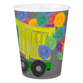 Yellow Dump Truck with Balloons Paper Cup