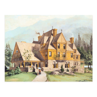 Yellow Elaborate Victorian Style Homes Post Card