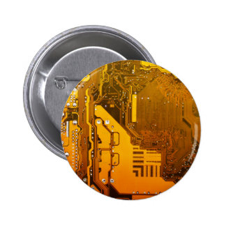 yellow electronic circuit board computer chip moth 6 cm round badge