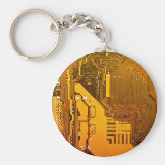 yellow electronic circuit board computer chip moth basic round button key ring