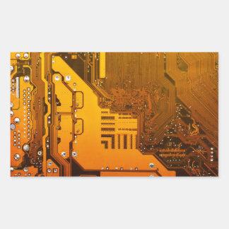 yellow electronic circuit board computer chip moth rectangular sticker