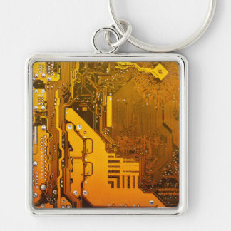 yellow electronic circuit board computer chip moth Silver-Colored square key ring