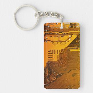 yellow electronic circuit board computer chip moth Single-Sided rectangular acrylic key ring