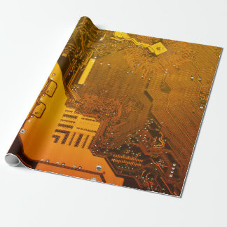yellow electronic circuit board computer chip moth wrapping paper
