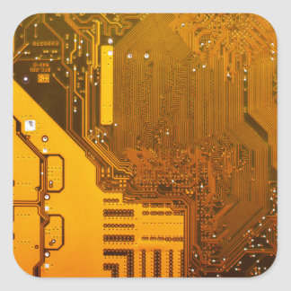 yellow electronic circuit board.JPG Square Sticker