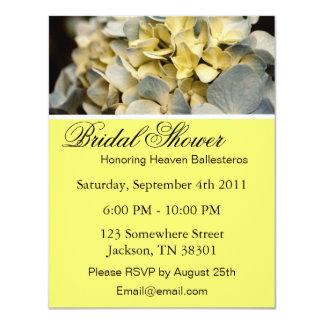 Yellow Elegant Hydrangea Bridal Shower Invitations