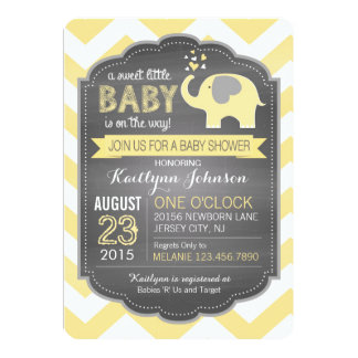 Yellow Elephant and Chevron Baby Shower 13 Cm X 18 Cm Invitation Card
