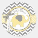 Yellow Elephant and Chevron Print Baby Shower