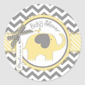 Yellow Elephant and Chevron Print Baby Shower Round Sticker