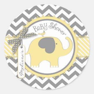 Yellow Elephant and Chevron Print Baby Shower Round Sticker
