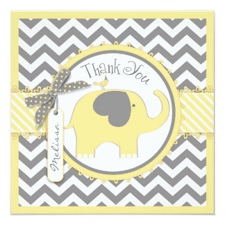 Yellow Elephant and Chevron Print Thank You Card