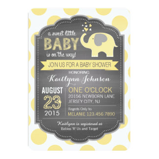 Yellow Elephant and Dots Baby Shower 13 Cm X 18 Cm Invitation Card