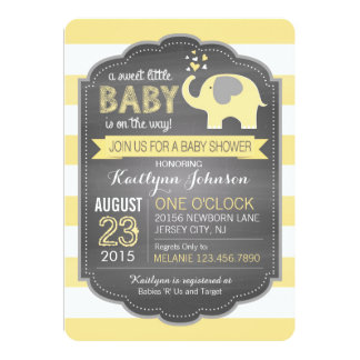 Yellow Elephant and Stripe Baby Shower 13 Cm X 18 Cm Invitation Card