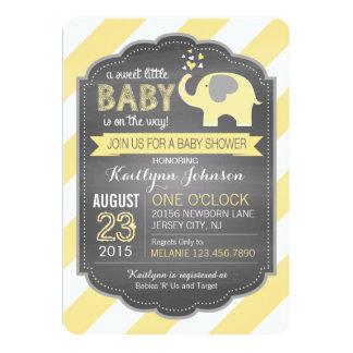 Yellow Elephant and Stripe Baby Shower 13 Cm X 18 Cm Invitation Card