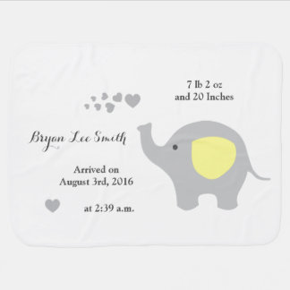 Yellow Elephant Baby Birth Stats Announcement Boy Baby Blanket