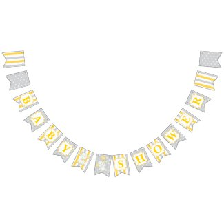 Yellow Elephant Baby Shower Set: Bunting banner