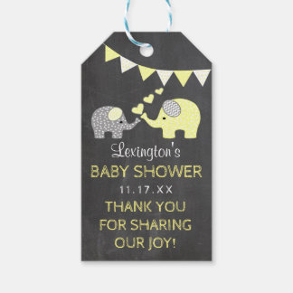 Yellow Elephant Baby Shower Thank You Chalkboard Gift Tags