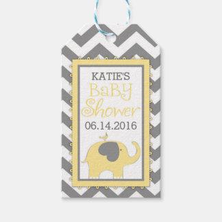 Yellow Elephant Bird Chevron Baby Shower Gift Tags