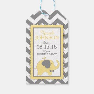 Yellow Elephant Bow-tie Bird Chevron Baby Shower