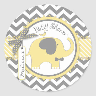 Yellow Elephant Bow-tie Chevron Print Baby Shower Classic Round Sticker