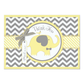 Yellow Elephant Bow Tie Chevron Print Thank You 13 Cm X 18 Cm Invitation Card