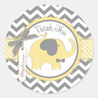 Yellow Elephant Bow-tie Chevron Print Thank You Round Sticker