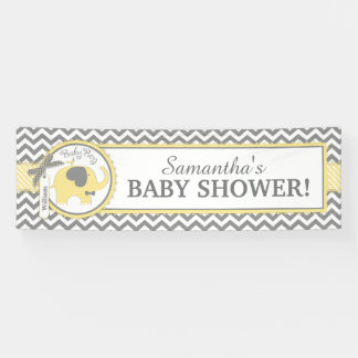 Yellow Elephant Boy Chevron Baby Shower