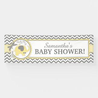 Yellow Elephant Boy Chevron Baby Shower Banner