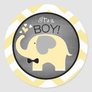 Yellow Elephant Chevron Boy Baby Shower Round Sticker