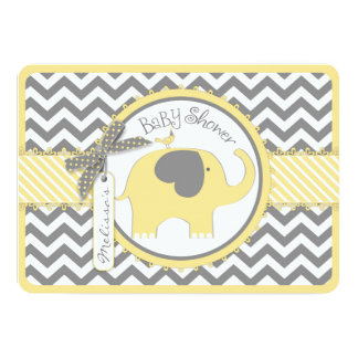 Yellow Elephant Chevron Print Baby Shower 13 Cm X 18 Cm Invitation Card